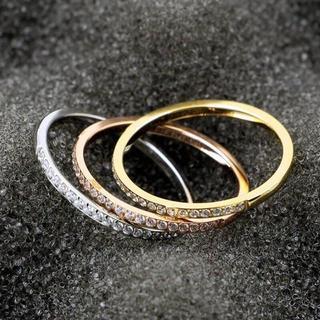 極細1.5mm CZダイヤモンド ピンキーリング 指輪(リング(指輪))