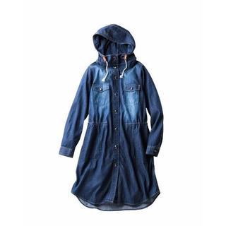 ニッセン(ニッセン)の綿100%デニムシャツジャケット(薄手素材)インディゴブルー LL(Gジャン/デニムジャケット)