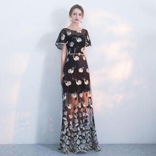 カラードレス 安い イブニングドレス 花嫁 ブラック ロング パーティードレス (ウェディングドレス)