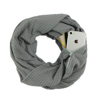 人気♪♪隠しジッパーポケット付きループスカーフ 男女兼用★グレー★(ネックウォーマー)