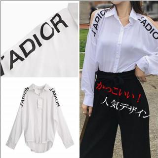 レディース ゆったり 白 長袖 シャツ オープンショルダー 人気ブランド風 (シャツ/ブラウス(長袖/七分))