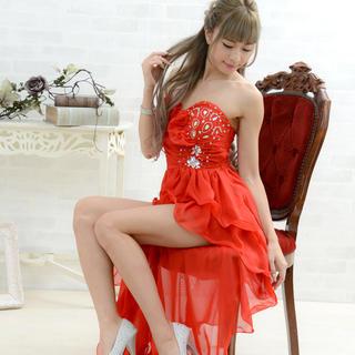 0540編み上げレーステールカットロングドレス パーティードレス キャバドレス(ナイトドレス)