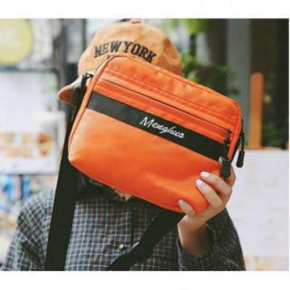 39 オレンジ 橙 ショルダー バッグ 防水 ナイロン コンパクト サコッシュ(ショルダーバッグ)