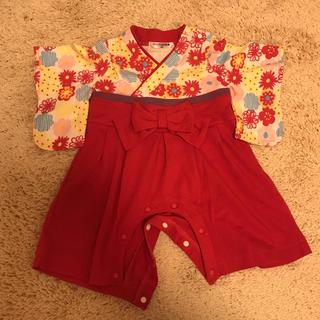 袴 カバーオール  ロンパース ベビー服 60 赤 黄色 花柄(和服/着物)