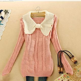 S61 全6色 ニットセーター 長袖 編み織 ちょう結び トップス(ニット/セーター)