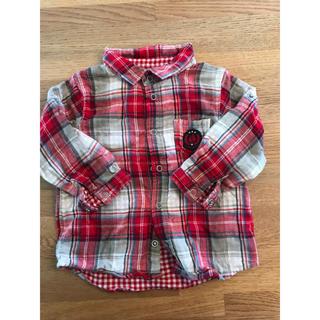 プチバトー(PETIT BATEAU)のプチバトー チェックシャツ 赤色(Tシャツ/カットソー)