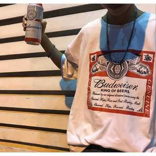 バドワイザー budweiser ロゴ Tシャツ カットソー 黒 白(Tシャツ(半袖/袖なし))