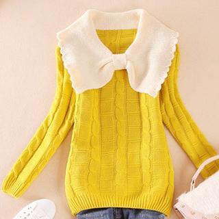 S61 全6色 ニットセーター 長袖 編み織 ちょう結び トップス (ニット/セーター)