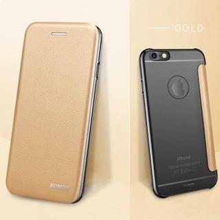 iPhone7/8 ゴールド シンプル 薄型 スリム 手帳型 クリアケース