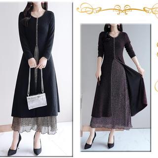 レイヤード風 ロングワンピース ドレス 大きいサイズ(ロングドレス)