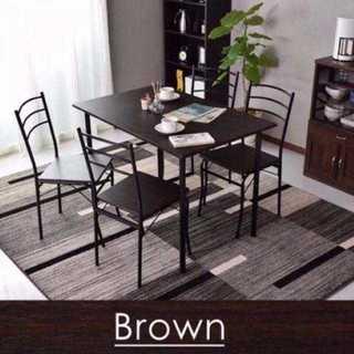 ☆売れ筋!ダイニングテーブル 5点セット  ブラウン  テーブル+椅子4個☆.