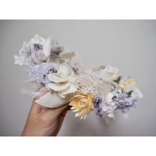 プリザ ドライフラワーの花冠〜white × purple kids ver.〜(ドライフラワー)