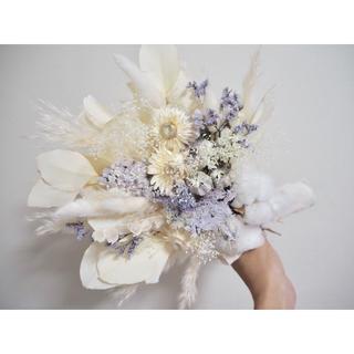 記念日を彩るドライフラワーのミニブーケ  white × purple ver.