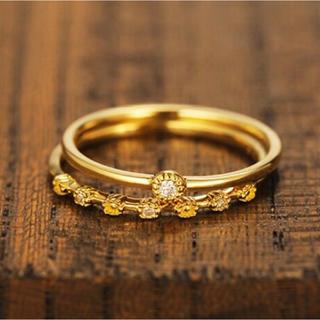 アガット(agete)のK18ダイヤ ピンキーリング 2本セット(リング(指輪))