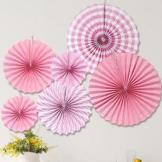 ≪翌日発送≫ファンフラワー 立体 紙 扇 ディスプレイ 装飾 ピンク(モビール)
