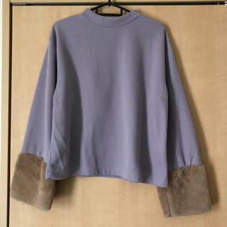 あったか裏起毛 ボア袖 ニットセーター プルオーバー 長袖トップス袖口ファー素材(ニット/セーター)