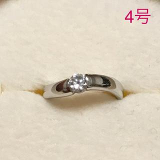 リング 指輪 CZ ダイヤ 一粒石 シルバー シンプル 4号 ピンキーリング (リング(指輪))