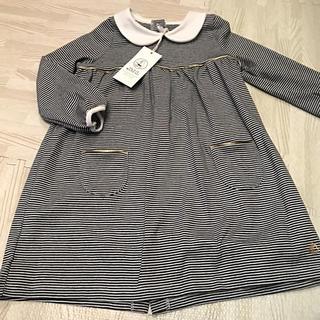 プチバトー(PETIT BATEAU)のプチバトー 18AW ミラレ衿つきワンピース 36m 新品(ワンピース)