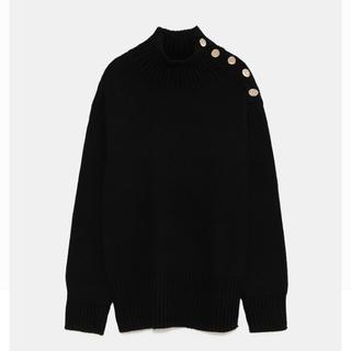 ZARA - ZARA ボタン付きセーター 黒Mサイズ