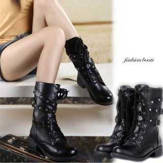 レディース ショートブーツ メンズ リベット 美脚 長靴 男女兼用 タクティカル(ブーツ)