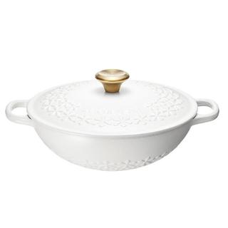 ルクルーゼ(LE CREUSET)の未使用 新品 ル・クルーゼ フラワーコットン ゴールドつまみ 鍋(鍋/フライパン)