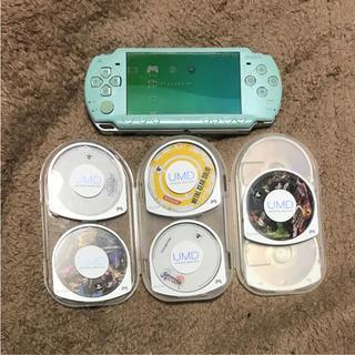 プレイステーションポータブル(PlayStation Portable)のPSP2000本体+カセット9種(携帯用ゲーム本体)