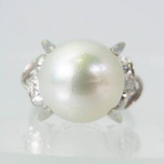 Pt850 南洋白蝶真珠ダイヤモンド リング 14号[f339-9](リング(指輪))