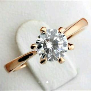 新品 高品質 AAA CZ ダイヤモンド 一粒ダイヤリング 10号 PG(リング(指輪))