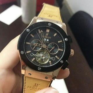 HUBLOT - ウブロ自動巻き腕時計 ブラック&ブラウン 裏スケルトン ゴムベルト