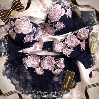 リュクスROSE刺繍ブラジャー&フルバック&Tバックショーツ★ネイビー★C75(ブラ&ショーツセット)