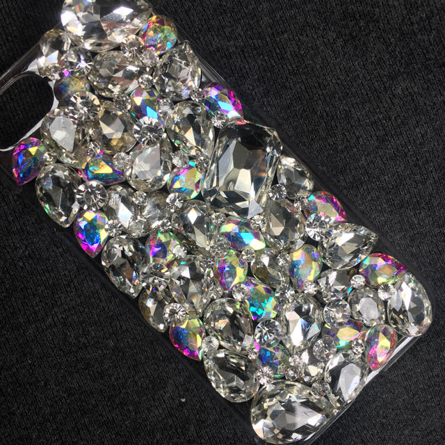 iphone8 ラバー ケース 、 キラキラガラスビジュー デコ iphone ケース カバーの通販 by デコショップ  雅|ラクマ