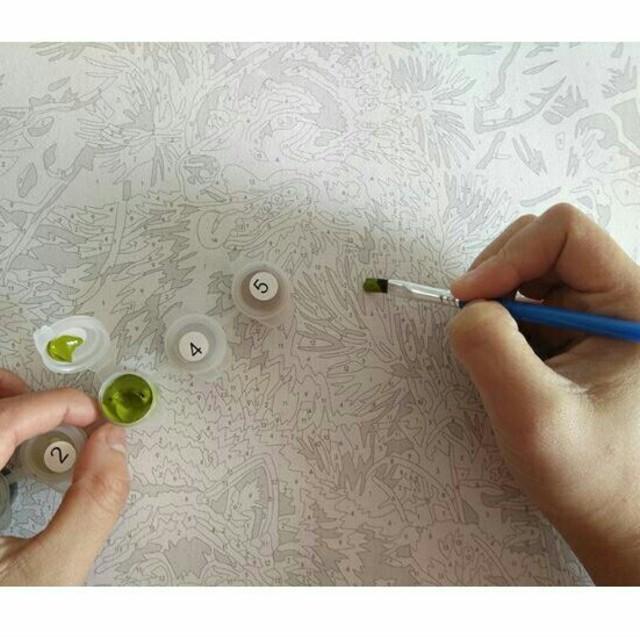 簡単自分で塗り絵猫ポスター キャンバス地 Diyペイント 絵の具と筆