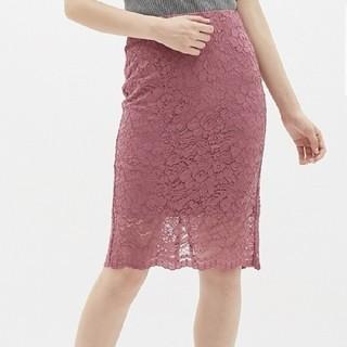 ジーユー(GU)の美品💖 GU レーススカート ピンク s(ひざ丈スカート)