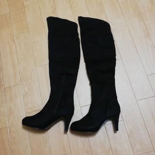 ニーハイブーツ スエード 黒 L 24cm(ブーツ)