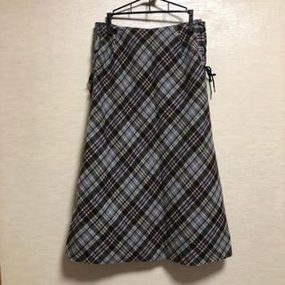 スキャパ(SCAPA)のvintage スカート チェック 編み上げ(ロングスカート)