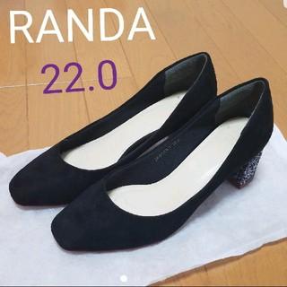 ランダ(RANDA)のRANDA パンプス 黒 スエード ラメ 22.0(ハイヒール/パンプス)