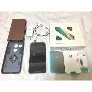 エルジーエレクトロニクス(LG Electronics)の動作良好 Nexus 5x 16GB ケース2個付 液晶傷無 SIMロック解除済(スマートフォン本体)