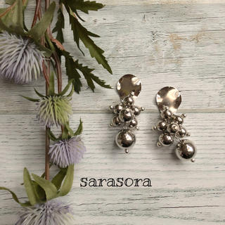 374 silver  ball× drop plate ピアスORイヤリング(ピアス)