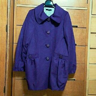 チュウチュ(ciu ciu)の美品未使用 Ciuciu カシミヤコクーンコート 紫パープル 内側ドット(ロングコート)