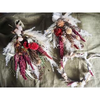 ☆hana様専用☆記念日を彩るドライフラワーの花かんむり&ミニブーケ&スワッグ(ブーケ)