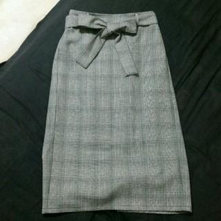 GU - 【本日限定価格】ウエストリボン チェック柄スカート