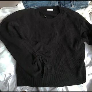 GU - ニット 黒 袖 リボン 編み上げ