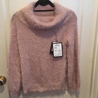 シマムラ(しまむら)の新品しまむらシャギー2WAYセーターMピンク(ニット/セーター)