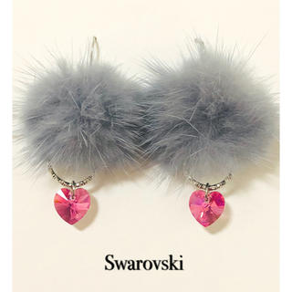 SWAROVSKI - スワロフスキー ローズオーロラハート♡ミンクファーピアスorイヤリング