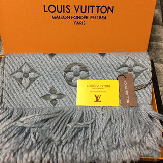 ルイヴィトン(LOUIS VUITTON)のLOUIS VUITTON ルイヴィトン マフラー/ショール ブルーグレー 新品(マフラー/ショール)