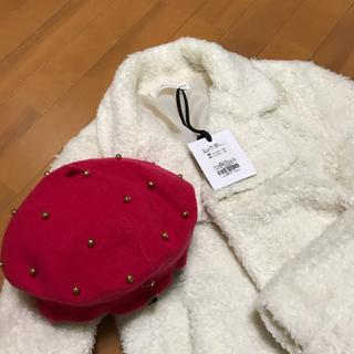 ニーナミュウ(Nina mew)の  2点 新品タグ付きnine mew モコモコアウター 、ベレー帽(毛皮/ファーコート)