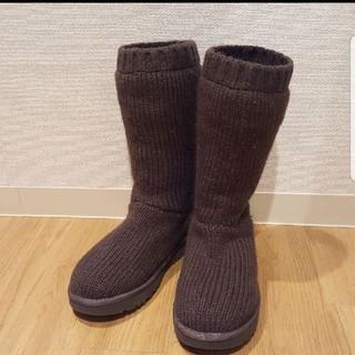 アグ(UGG)の新品!UGG日本未発売とってもかわいいデザインニットロンググレー(ブーツ)
