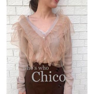 who's who Chico - 新品¥5292【Chico】チュールフリルリブニットカーディガン