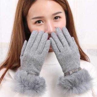 ♡全2色♡かわいい♡ファー付き レディース 手袋(手袋)