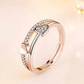 ♡ダブルハート♡ ピンクゴールド ダイヤモンドcz フリーサイズ 指輪 リング(リング(指輪))